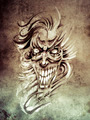 Sketch of tattoo art, smilling skull and clown  on vintage paper - PhotoDune Item for Sale