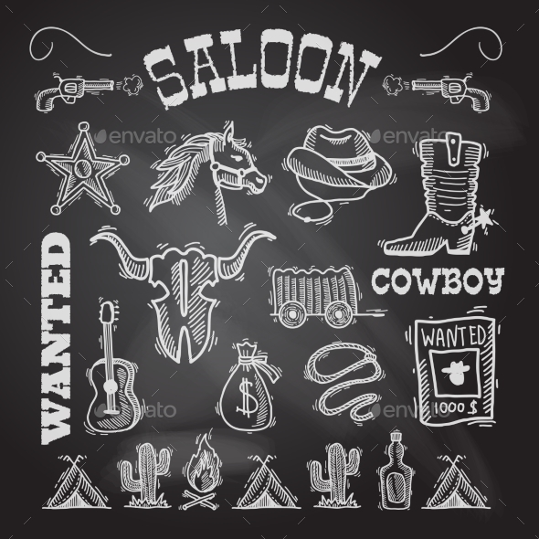 GraphicRiver Cowboy chalkboard set 9229305