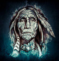 Sketch of tattoo art, portrait of american indian head - PhotoDune Item for Sale