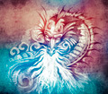 Sketch of tattoo art, fantasy medieval dragon with white fire  o - PhotoDune Item for Sale