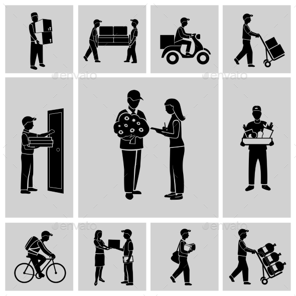 GraphicRiver Delivery icons black 9229381