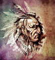Sketch of tattoo art, American Indian Chief illustration on vint - PhotoDune Item for Sale