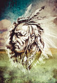 Sketch of tattoo art, indian head over cropfield background - PhotoDune Item for Sale
