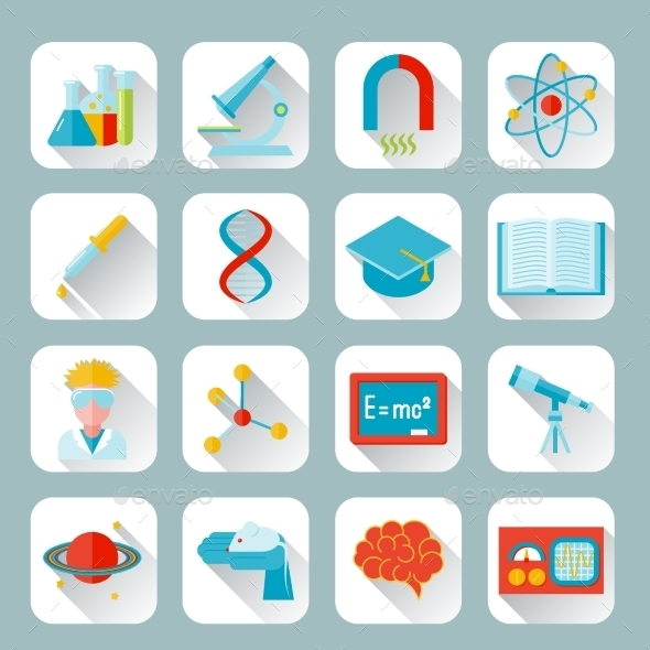 GraphicRiver Science and research icon flat 9229454