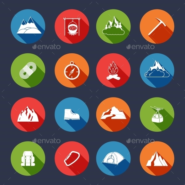 GraphicRiver Mountain icons flat 9229458