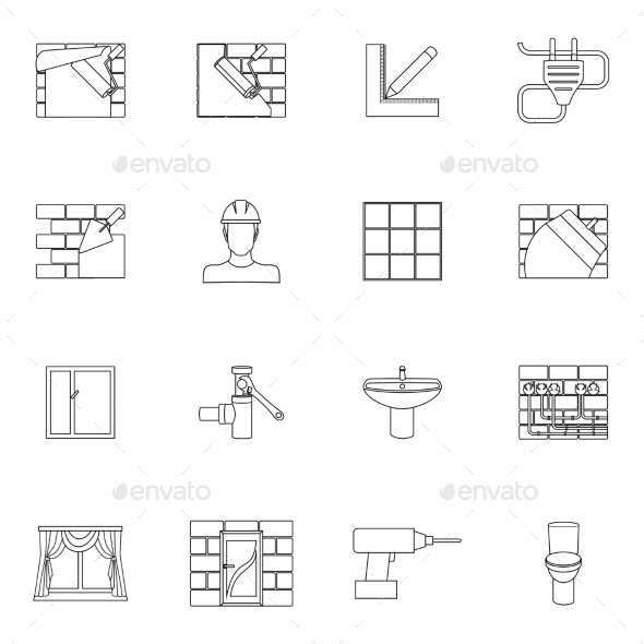 GraphicRiver Home repair icons outline 9229472