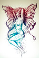 Nude fairy. Fantasy sketch of tattoo art, naked woman figure - PhotoDune Item for Sale