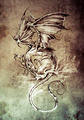 Sketch of tattoo art, classic dragon illustration - PhotoDune Item for Sale