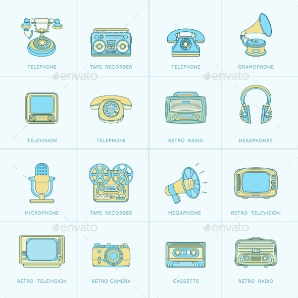 GraphicRiver Retro Media Flat Line Icons 9229708