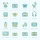 Retro Media Flat Line Icons - GraphicRiver Item for Sale