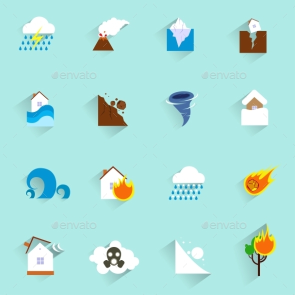 GraphicRiver Natural disaster icons flat 9229785