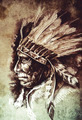 Indian Head Chief Illustration. Sketch of tattoo art, over vinta - PhotoDune Item for Sale