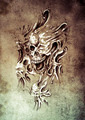 Sketch of tattoo art, monster heads under skin - PhotoDune Item for Sale