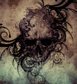 Sketch of tattoo art, skull with tribal flourishes - PhotoDune Item for Sale