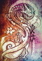 Tattoo art, sketch of a japanese dragon over colorful paper - PhotoDune Item for Sale