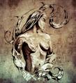 Sketch of tattoo art, nude fairy illustration on vintage paper, - PhotoDune Item for Sale