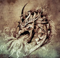 Sketch of tattoo art, anger dragon with white fire on vintage pa - PhotoDune Item for Sale