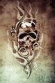 Sketch of tattoo art, skull devil, decorative  on vintage paper, - PhotoDune Item for Sale
