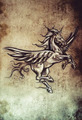 Tattoo unicorn sketch, handmade design over vintage paper - PhotoDune Item for Sale