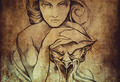 Tattoo art, sketch of mistic woman - PhotoDune Item for Sale