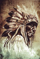 Sketch of tattoo art, indian head, chief, vintage style - PhotoDune Item for Sale