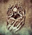 Sketch of tattoo art, anger monster - PhotoDune Item for Sale