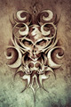 Sketch of tattoo art, monster design with tribal illustrations - PhotoDune Item for Sale