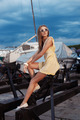 Pretty girl on sea and yacht background - PhotoDune Item for Sale