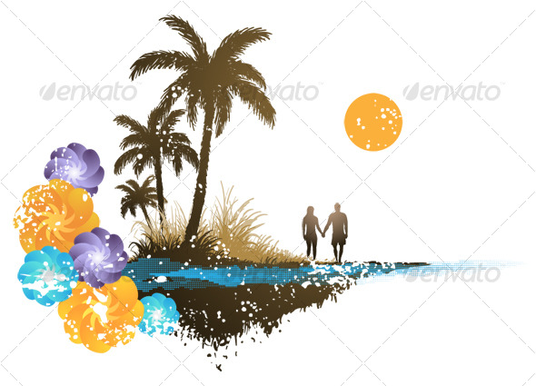 Palm Tree Paradise - Backgrounds Graphics