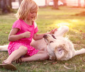 Little girl with golden retriever dog - PhotoDune Item for Sale