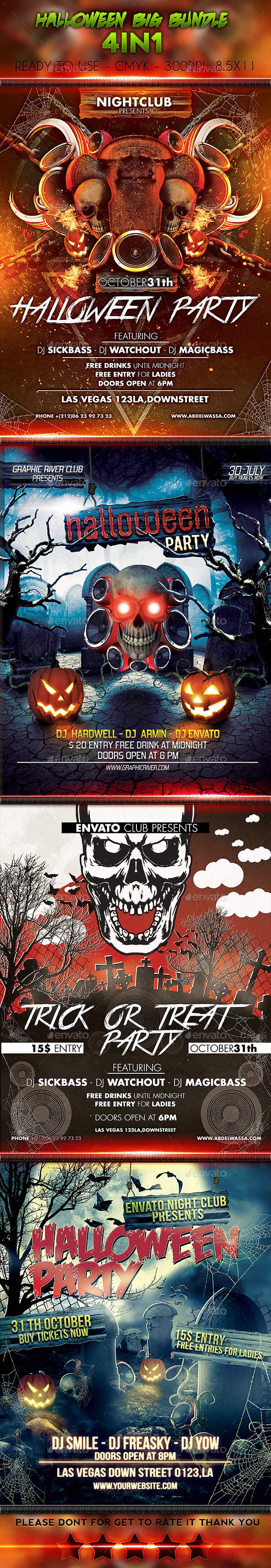 GraphicRiver Halloween Big Bundle 4in1 9201998