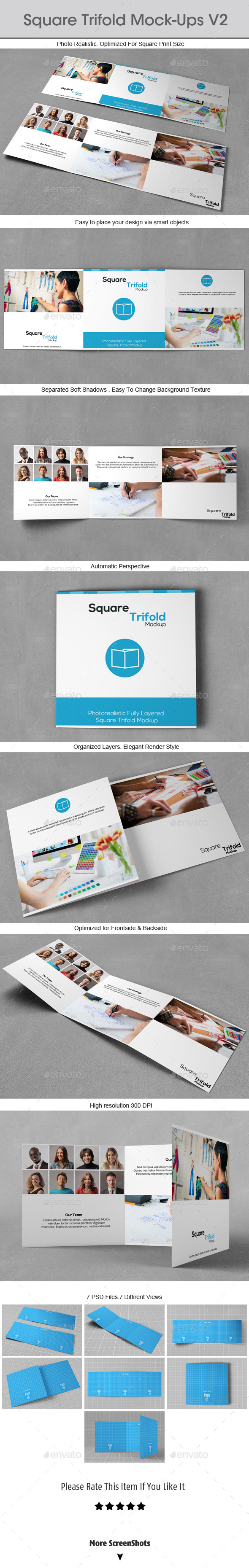 GraphicRiver Square Trifold Mock-ups v2 9231829