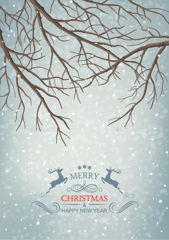 GraphicRiver Winter Vector Tree Branches 9232015