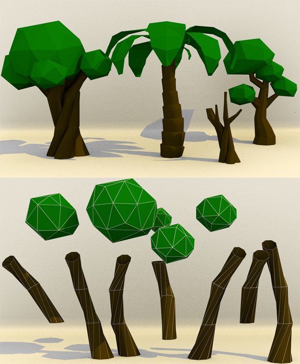 3DOcean Low Poly Paper Tree 9232154