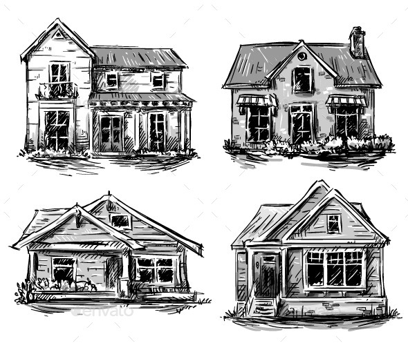 Set of Private Houses Hand Drawn