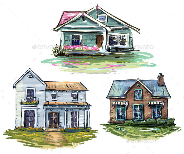 GraphicRiver Set of Private Houses Hand Drawn 9234523