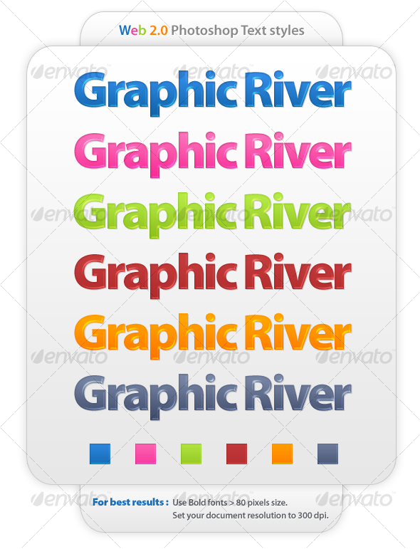 Graphic River 6 colors web 2.0 photoshop text styles Add-ons -  Photoshop  Styles  Text Effects 38713