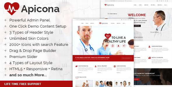 ThemeForest Apicona Health & Medical WordPress Theme 9150966