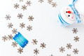 Christmas background with blue greeting card - PhotoDune Item for Sale