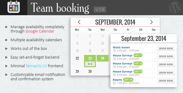 What's this? Team booking is a WordPress booking and reservation system plugin like many others, but with a very distinctive feature: availability plans a