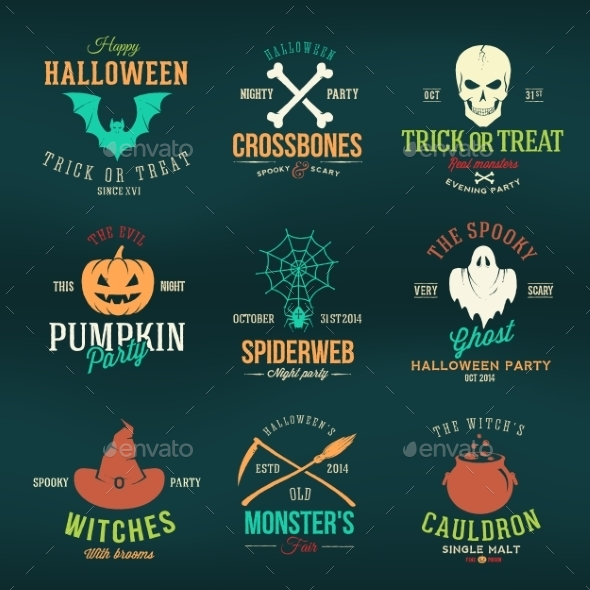 GraphicRiver Vintage Typography Halloween Vector Color Badges 9235463