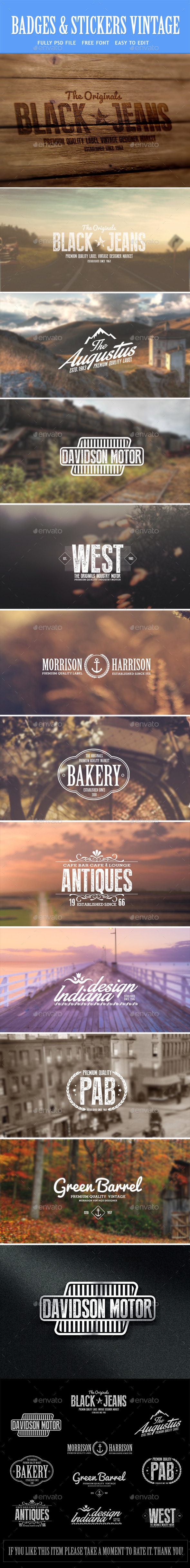 GraphicRiver Vintage Badges & Labels 9235478