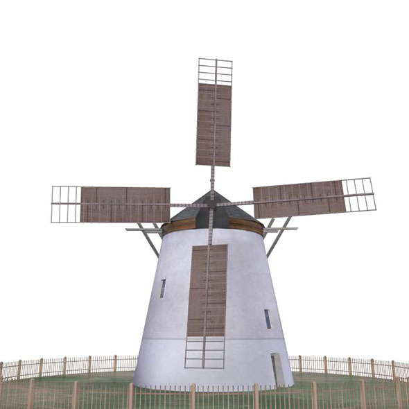 Windmill Retz Austria Low Poly