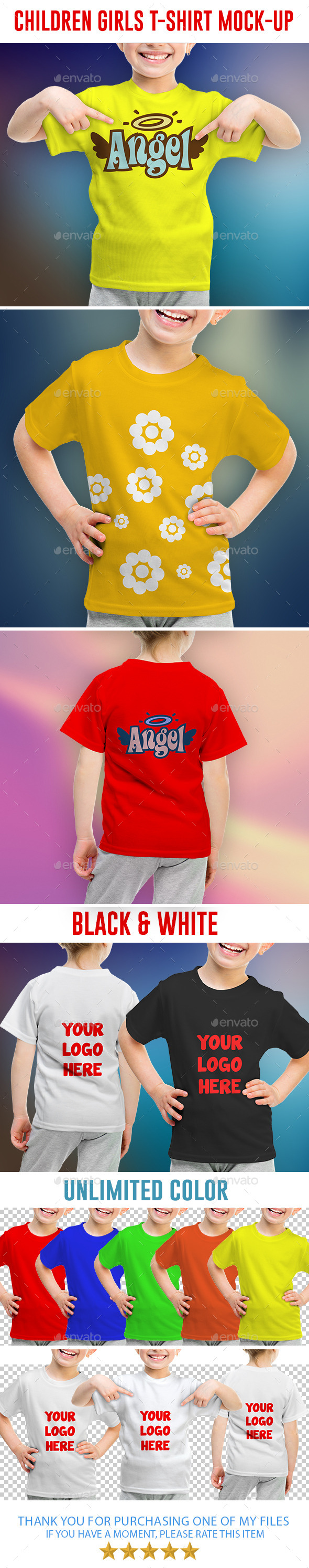Children Girls T-shirt Mock-Up