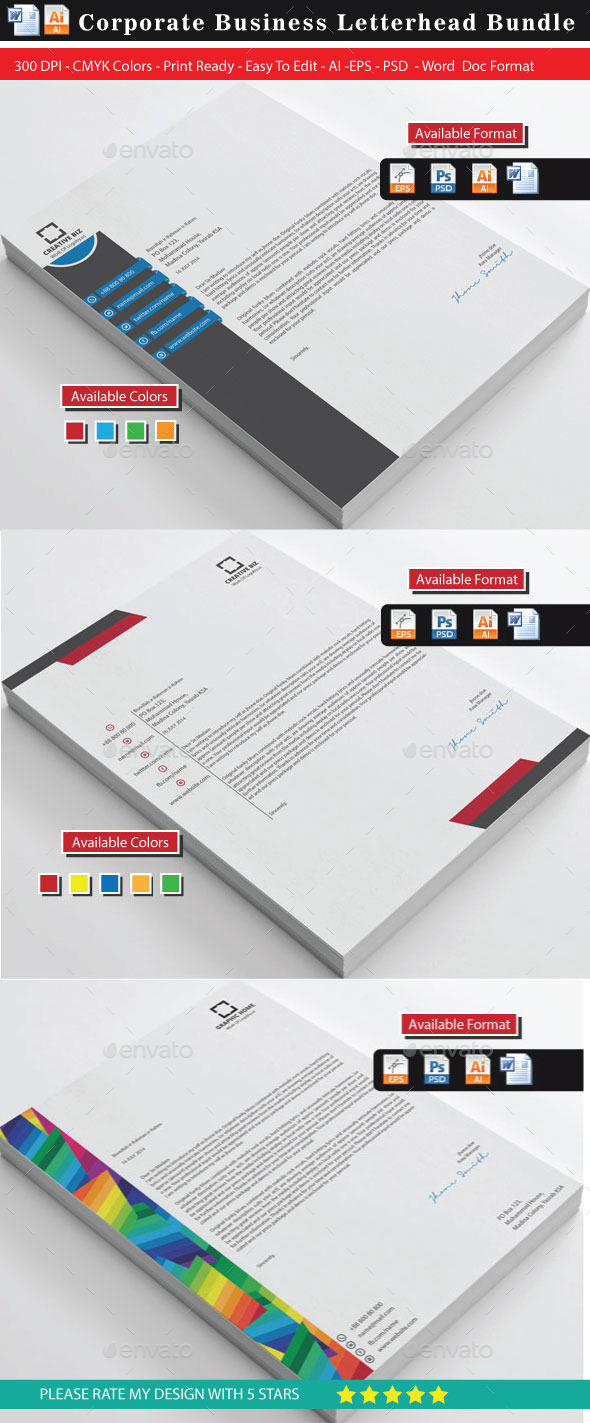 GraphicRiver Corporate 2 Modern Letterhead Bundle 9236136