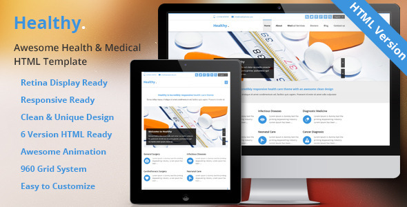 ThemeForest Healthy- Awesome Medical HTML5 & CSS3 Template 9204297