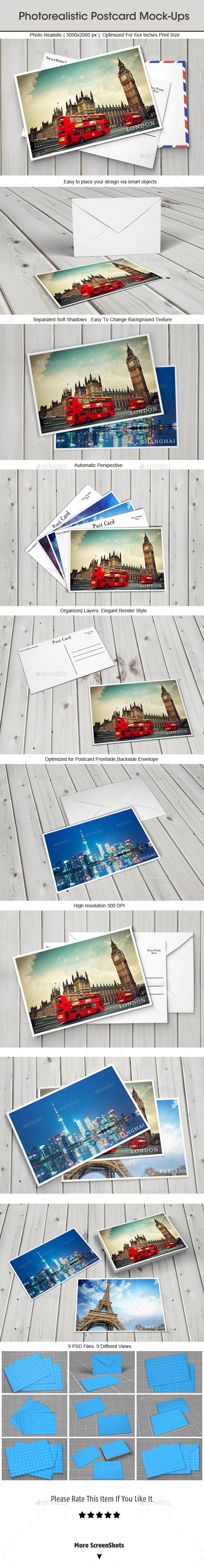 GraphicRiver Photorealistic Postcard Mock-ups 9236506