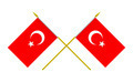 Two Crossed Flags of Turkey, 3d Render, Isolated on White - PhotoDune Item for Sale