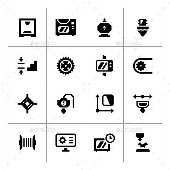 GraphicRiver Set Icons of 3D Printing 9236927