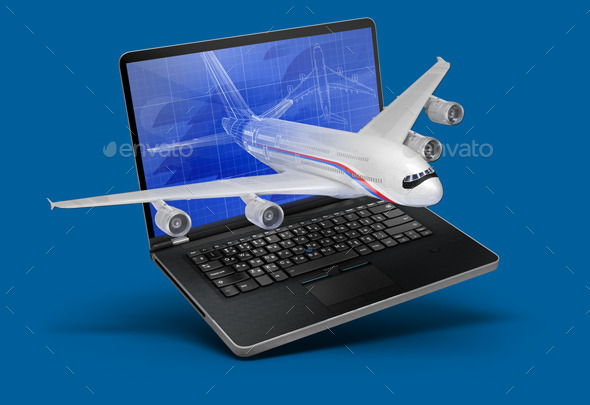 GraphicRiver Illustration with a Laptop and a Plane 9186515